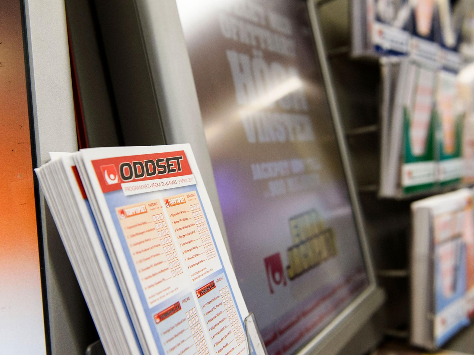 Interiör från en spelbutik. Spelkuponger för spel på Oddset från Svenska  spel. Foto  Noella Johansson   TT 79c20e86f5d6b
